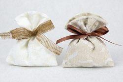 Portaconfetti a busta in lino e pizzo - due misure