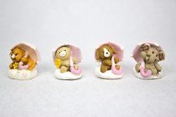 Animaletti con ombrello - rosa o celesti - soggetti assortiti