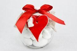 Barattolino in vetro portaconfetti con coccarda e cuore