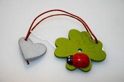 Addobbi - Quadrifoglio con cuore e coccinella