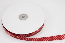 Nastro in rigatino rosso con pois bianchi