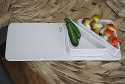 Vassoio con 2 vaschette portasalse - porcellana