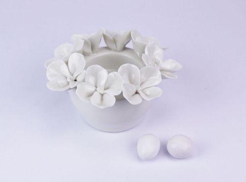 Portacandele in porcellana decoro fiori bomboniera matrimonio