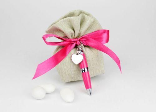 Sacchetto porta confetti con penna - bomboniera matrimonio / laurea Margot Italia