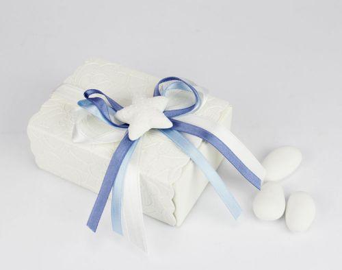 Scatolina portaconfetti tema mare con stella marina - bomboniera x matrimonio/nascita o battesimo