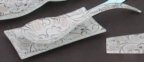 Cucchiaio con vassoio in vetro con decoro Fancy di Claraluna