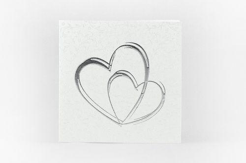 Partecipazione quadrata con cuori argento