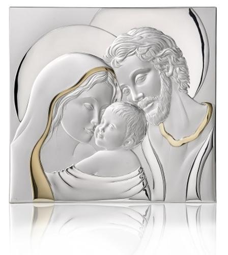 Capezzale Sacra famiglia in argento cm.38x34,5