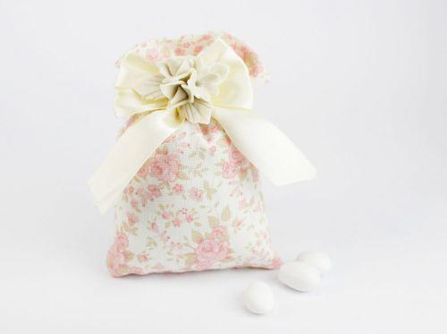 Sacchetto porta confetti con fiori in porcellana - Matrimonio / 1° Comunione