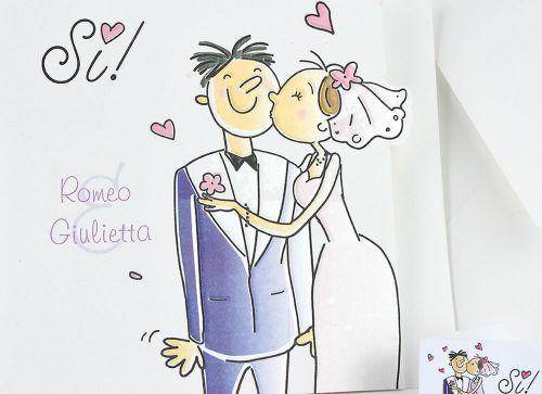 Partecipazione con SI e sposi fumetto - Partecipazioni