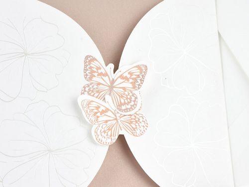 Partecipazione quadrata farfalle e fiori - Partecipazioni