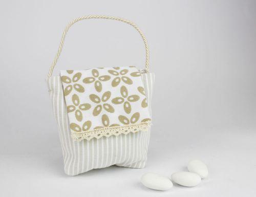 Borsetta porta confetti righe linea MARTINA - bomboniera per nozze o per comunione