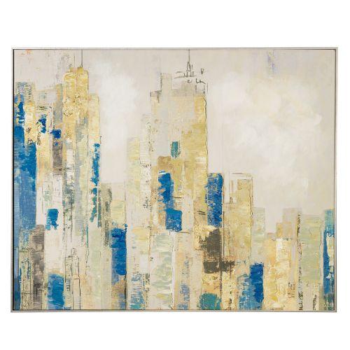 Quadro Acrilico su tela con cornice città stilizzata - L'Oca Nera
