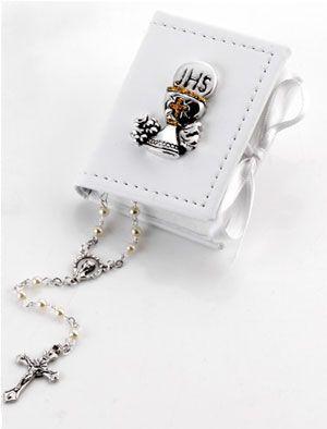 Box scatolina in ecopelle con calice comunione e rosario bomboniera - Memory 2016