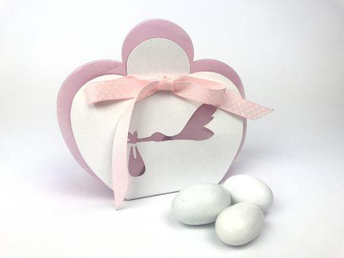 Scatola portaconfetti bianca e rosa cicogna