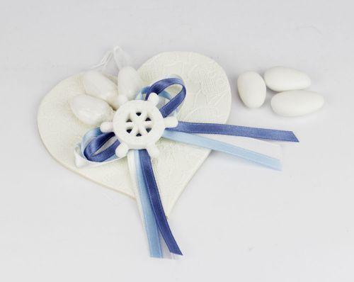 Segnaposto appendino portaconfetti tema mare - nautico a cuore con timone / bomboniera per nozze