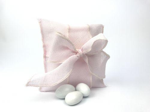 Sacchetto portaconfetti velato rosa fiocco