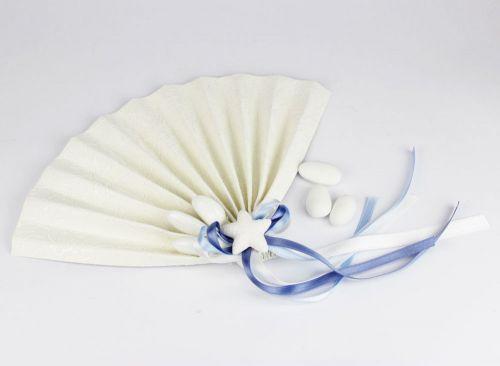 Ventaglio segna posto portaconfetti tema mare con stella marina - bomboniera x matrimonio/nascita o