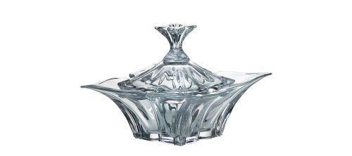 Scatola con coperchio in cristallo Floreale 36 cm