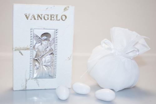 Bomboniera - Vangelo con angeli in argento
