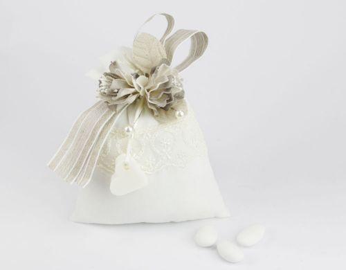 Sacchettino portaconfetti + cuoricino saponetta Bomboniera Matrimonio linea CHIARA - Joel