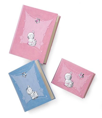 Album portafoto con bimbi con biberon in rosa - 23x30 cm