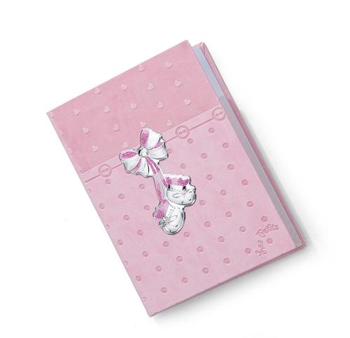 Diario neonato con fiocco e scarpine in rosa - 15x21cm