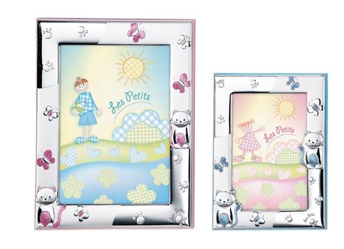 Cornice portafoto con gatto di peluche e farfalle in celeste - 9x13 cm