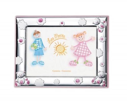Cornice portafoto con orsetti di peluche e margherite in celeste - 9x13 cm