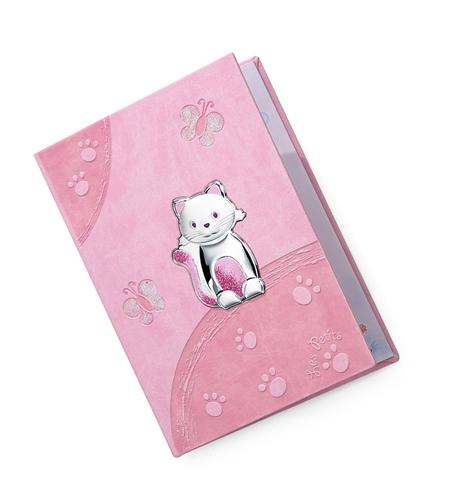 Diario neonato con gatto di peluche e farfalle in rosa - 15x21cm