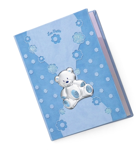 Diario neonato con orsetto di peluche e margheritine in azzurro - 15x21cm