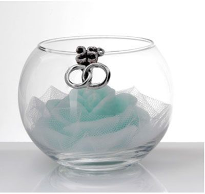 Profumatore Crystal ball con fedi e candela bomboniera nozze d'argento - Memory 2016
