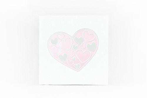 Partecipazione quadra con cuori rosa e avorio
