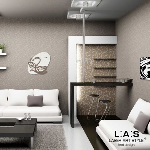 Orologio da muro astratto raffigurante due cigni - Laser Art Style