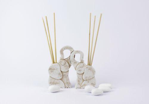 Bomboniera coppia di elefanti diffusori Linea Petra - bomboniera matrimonio