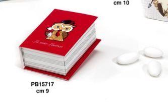 Scatolina Libro Laurea portaconfetti con Gufetto - Mandorle
