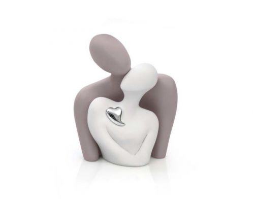 Statua innamorati con cuore in argento - Bongelli