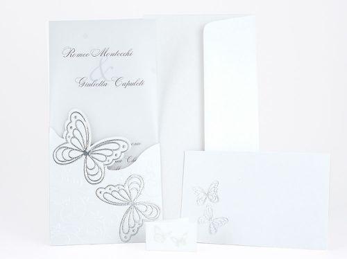 Partecipazione di nozze farfalle argentate e strass