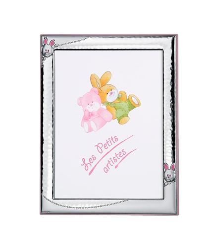 Cornice portafoto 13x18 con piccolo coniglietto in rosa