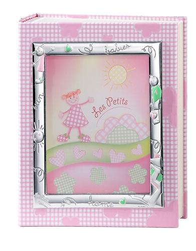 Album portafoto con cornice (13x18cm) con bimbi stilizzati in rosa - 20x25cm