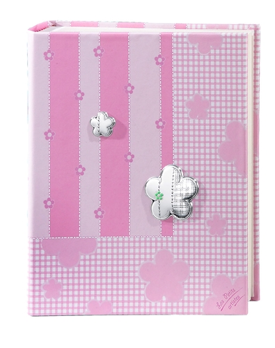Album portafotografie con decoro a fiori in rosa - 20x25cm