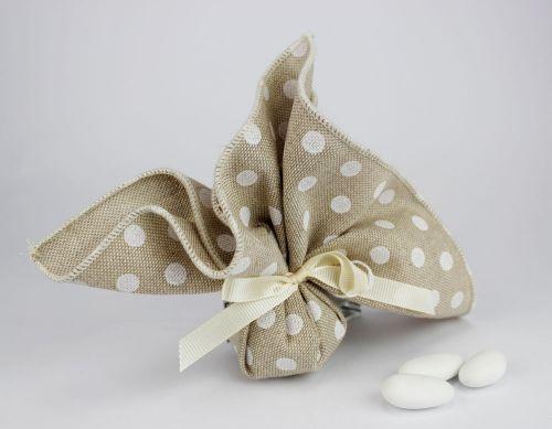 Sacchettino portaconfetti pois linea MANU- per matrimonio/1° comunione