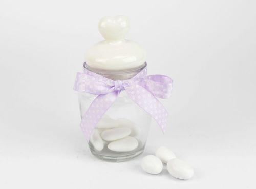 Barattolino porta confetti con tappo cuore - bomboniera