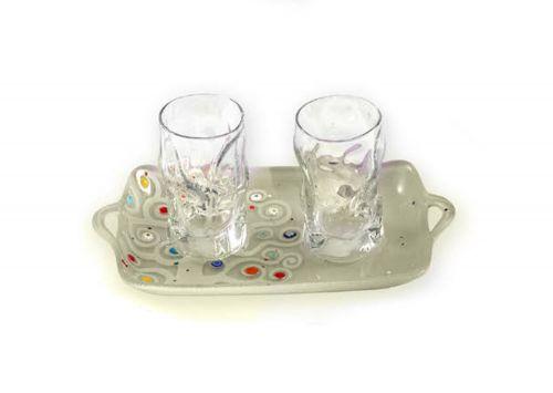 Vassoio e bicchieri vetro