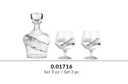 Kit Bottiglia e bicchieri brandy in cristallo GRIFFE e argento puro - Argenesi
