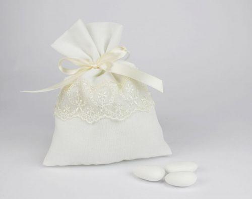 Sacchetto portaconfetti in pizzo linea CHIARA - Matrimonio o 1°comunione