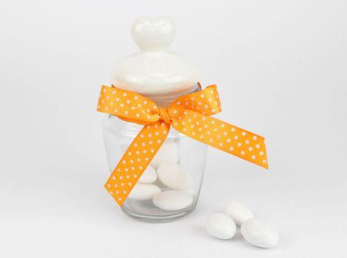 Barattolo vetro porta confetti cuore - bomboniere