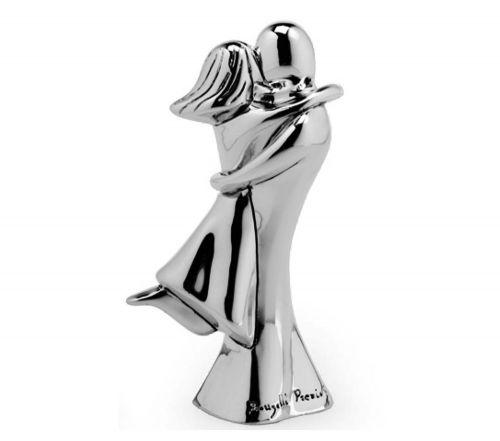 Coppia sposi stilizzata bacio in resina e argento bomboniere nozze - Memory 2016