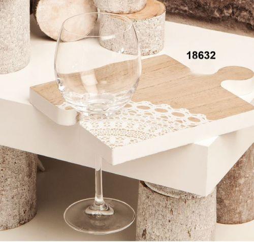 Tagliere in legno decoro pizzo forma puzzle