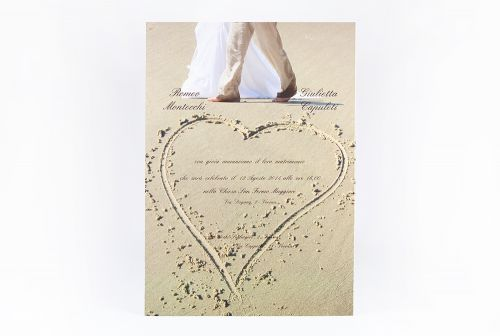 Partecipazione sposi sulla spiaggia